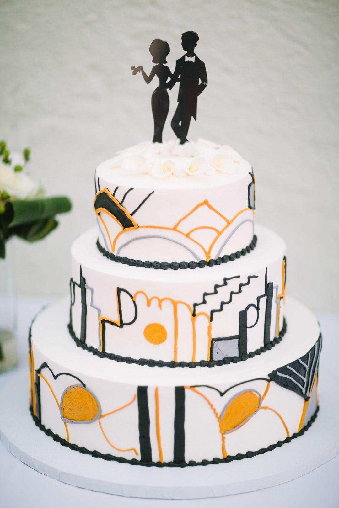 wedding cakes in lagunbeach ca%0A Chic wedding cake  black and yellow design  silhouette cake topper  California  wedding