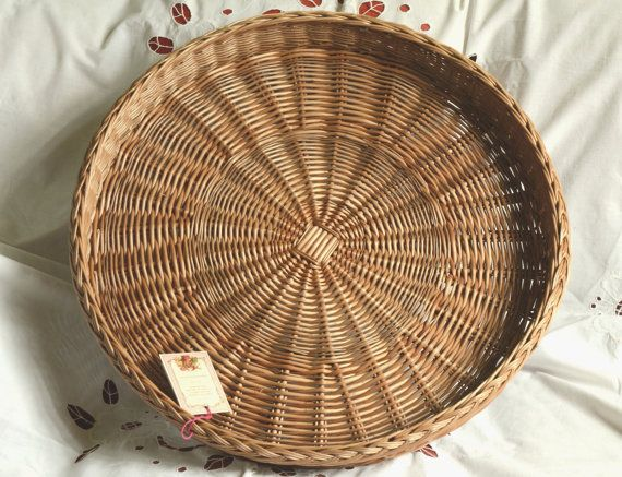 Peachy Large Round Wicker Tray Rustic Ottoman Basket Tray Large Ibusinesslaw Wood Chair Design Ideas Ibusinesslaworg
