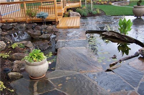 Pond Dock House Ideas   Koi Pond With Stone Foot Bridge