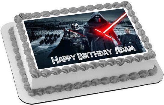 Star Wars 7 Force Awakens Edible Birthday Cake Topper OR Cupcake Topper, Decor