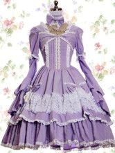 Purple Blue Cotton Classic Lolita Dress - I can wear anything, right? This is what I want to wear
