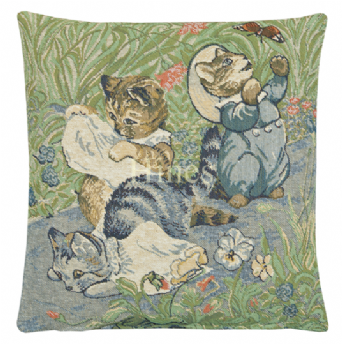 Tom Kitten - Fine Woven Tapestry Cushion From Beatrix Potters timeless tales Fine Woven Tapestry Cushion finished with luxurious British velvet back