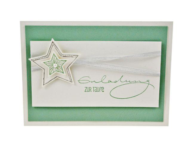 Einladungskarte Aus Dem Set Mint Star, Taufeinladung, Baby Shower, Taufe,  Einladungskarte,