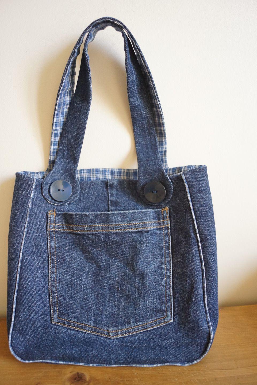 8888870175 Sac à main pour fillette en Jeans et tissus à carreaux bleu et blanc. Petit  sac à main en toile de Jeans avec poches à l'avant et à l'arrière du sac.
