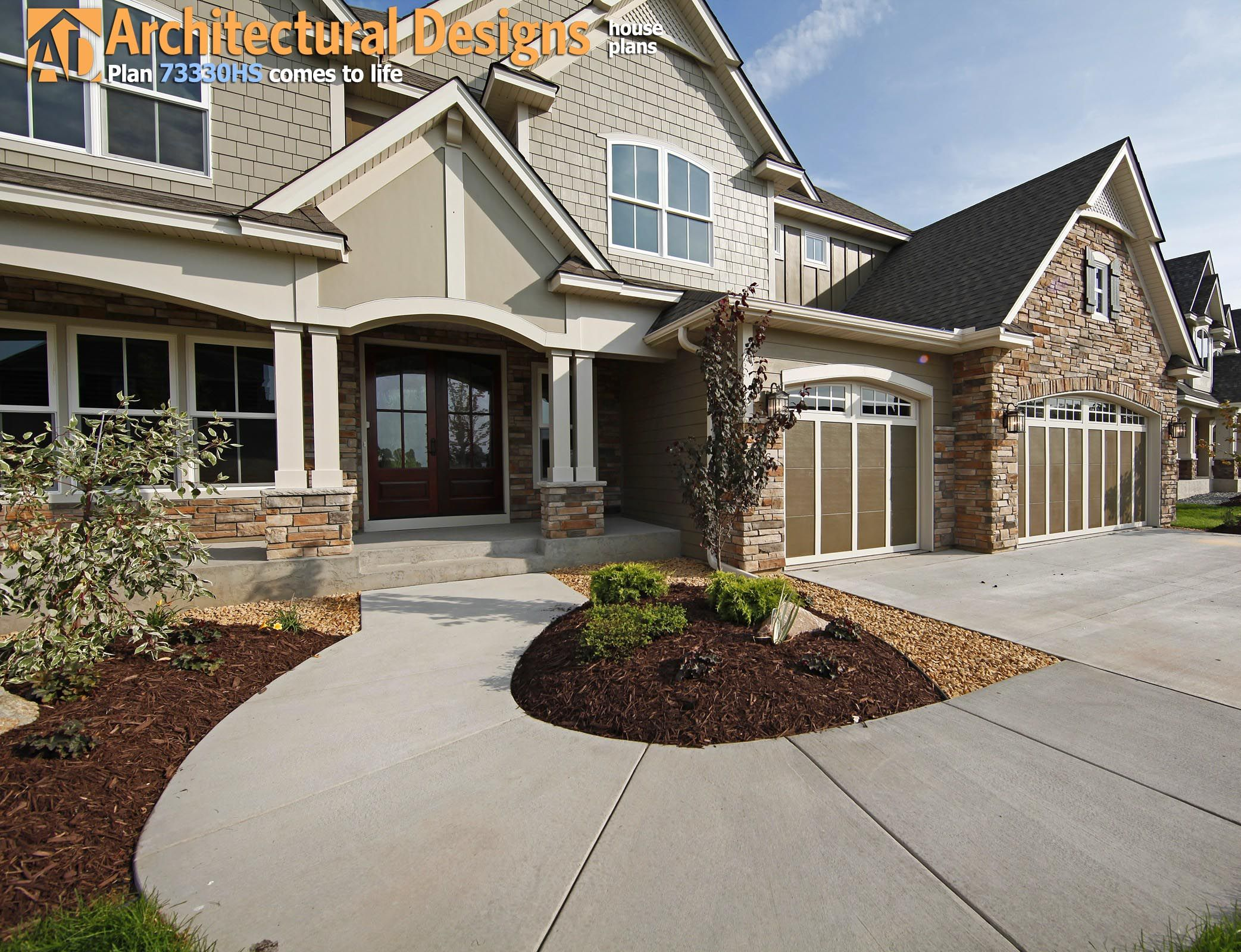 Plan HS View of front entry porch and garage House Plan