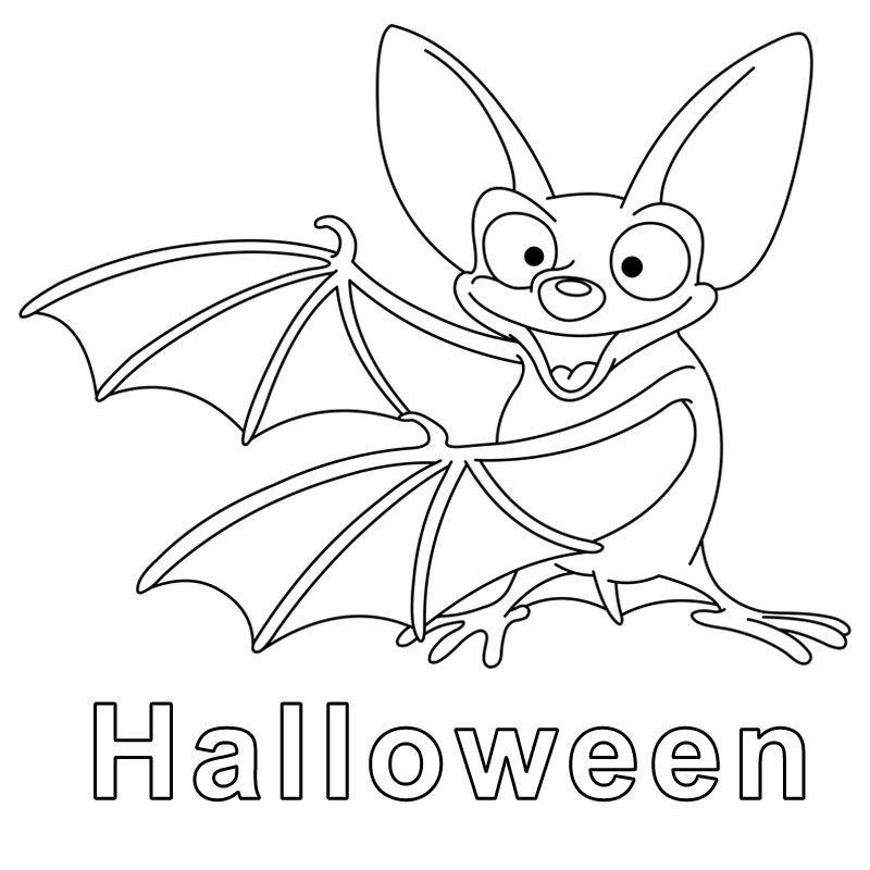 ausmalbild halloween: kostenlose malvorlage: fledermaus