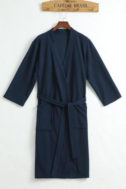 bc49fccc19 Towel Bath Robe Dressing Gown Unisex Men Women Sleeve Solid Waffle Sleep  Lounge Bathrobe Peignoir Nightgowns Lovers Robes