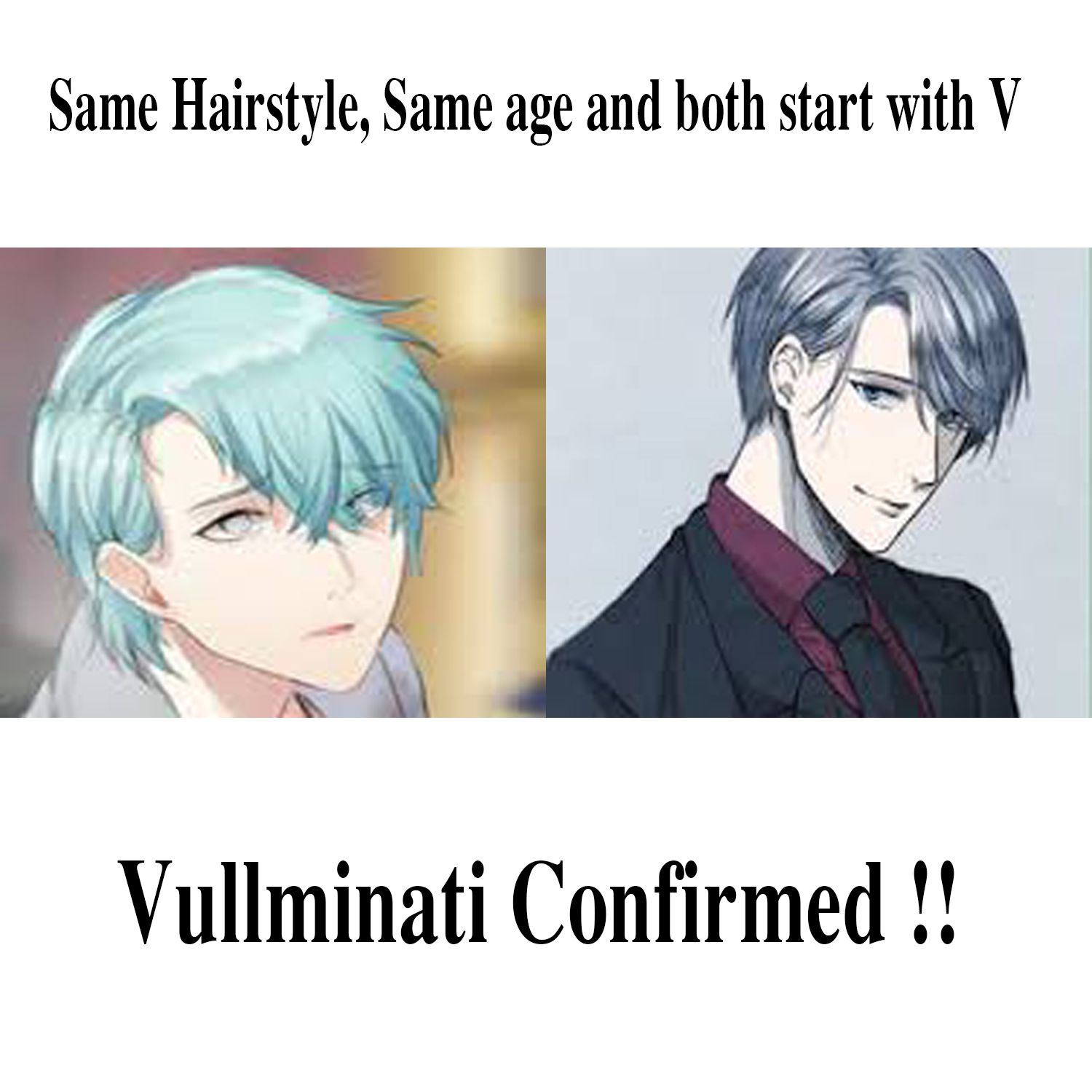 """My friend and I were discussing an anime she had told me about when we noticed the similarities between Victor from Yuri on ice and V from mystic messenger. What do you think is """"Vulliminati"""" confirmed?? #Mysticmessenger #Yurionice #Anime #Vullminati #V #Victor #Mystic #Messenger #Games #Otome"""