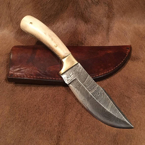 Damascus Knife With Moose Antler Handle