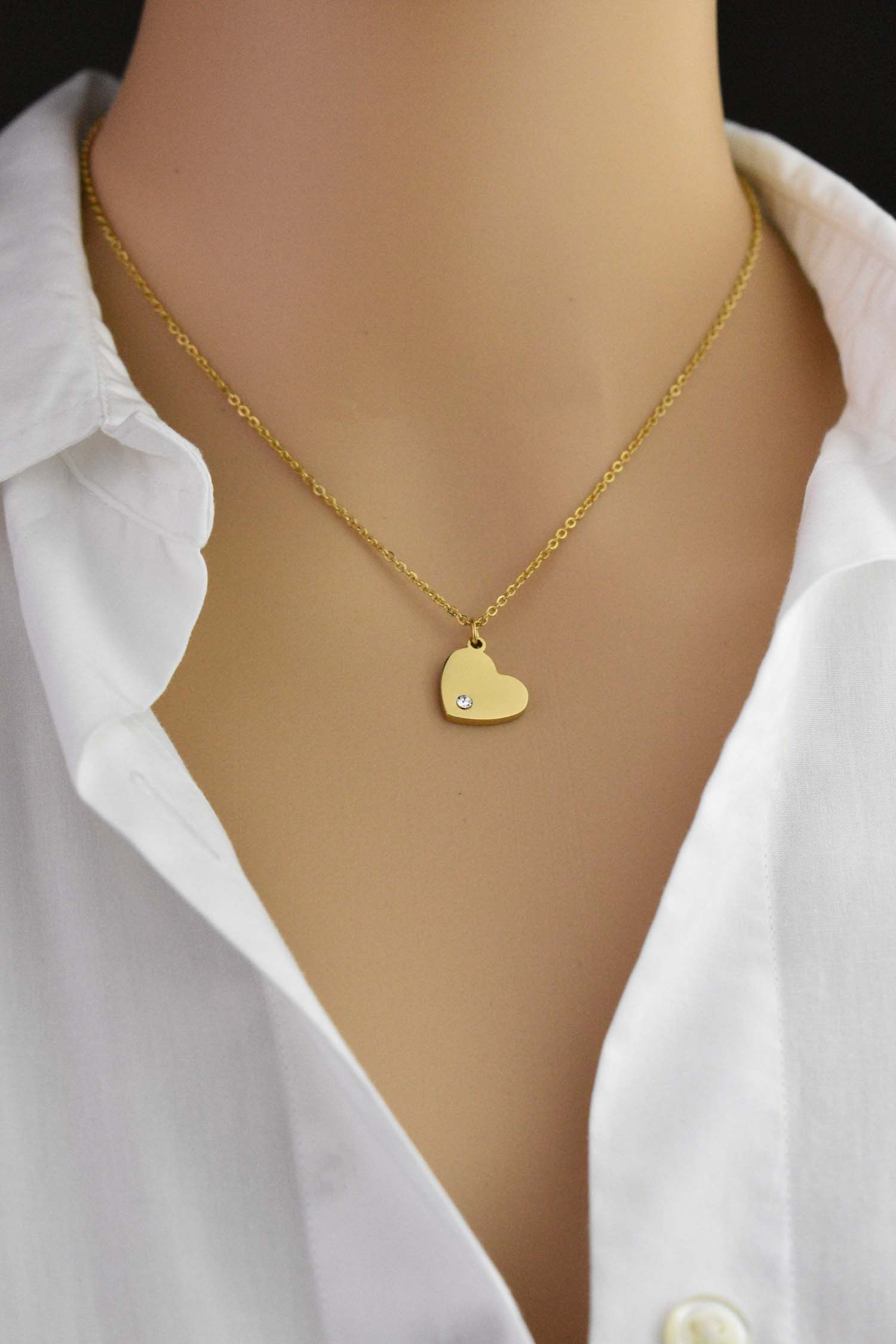 1ce90ea4d26c9 Personalized Birthstone Heart Necklace, Gifts for her, Birthstone ...