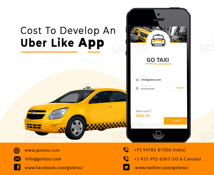 Uber like taxi app development cost with its key features