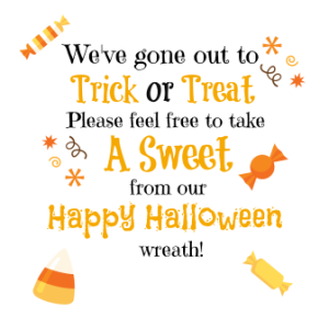 graphic about Trick or Treat Signs Printable known as Uncomplicated Do-it-yourself Trick or Deal with Halloween Sweet Wreath + Absolutely free