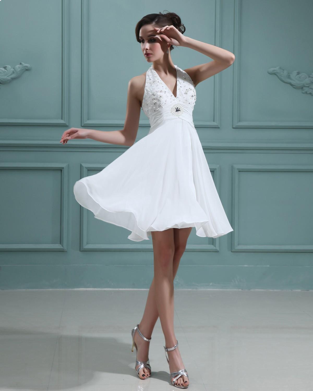 White maternity wedding dress  Halter Chiffon Beading Aline Short dress  Masquerade ball
