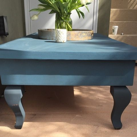 Large Heavy Solid Wood Coffee Table With 4 Drawers, Painted In Anni.