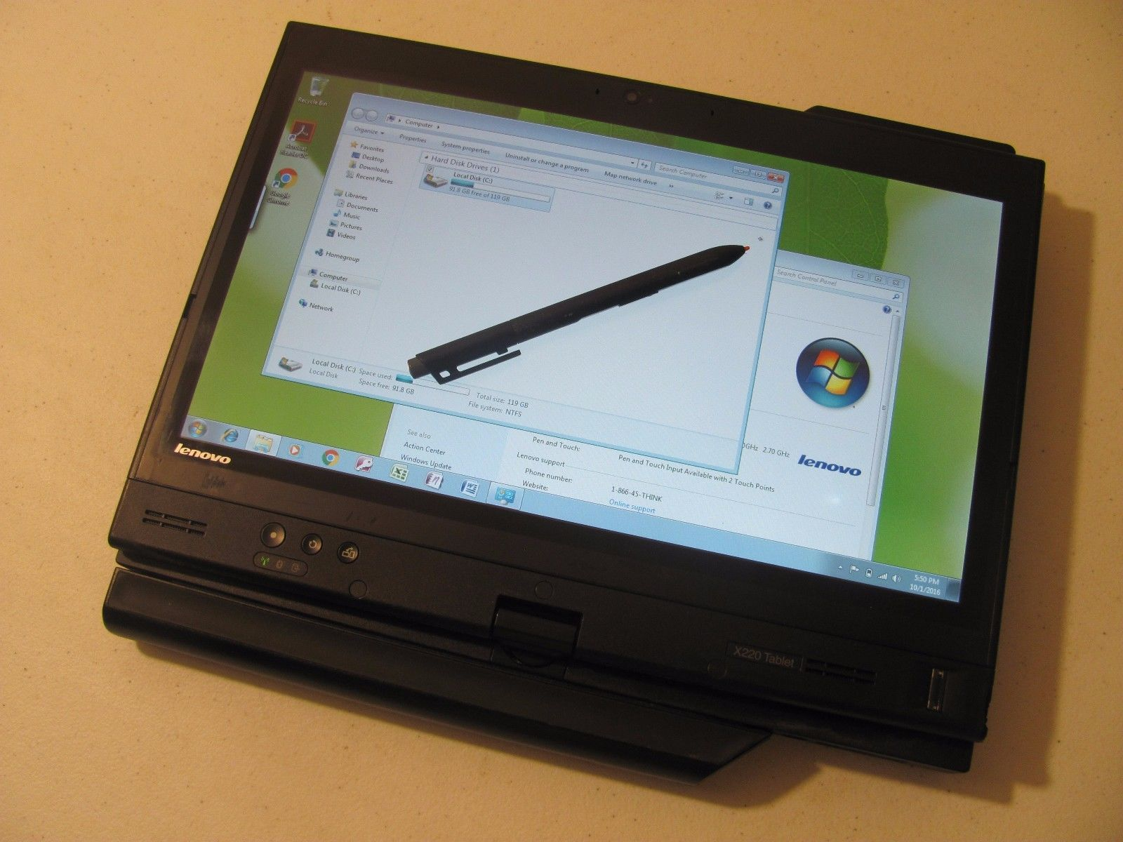 Lenovo ThinkPad X220 Tablet Core i7 2 70GHz 8 GB 128 GB SSD Win 7