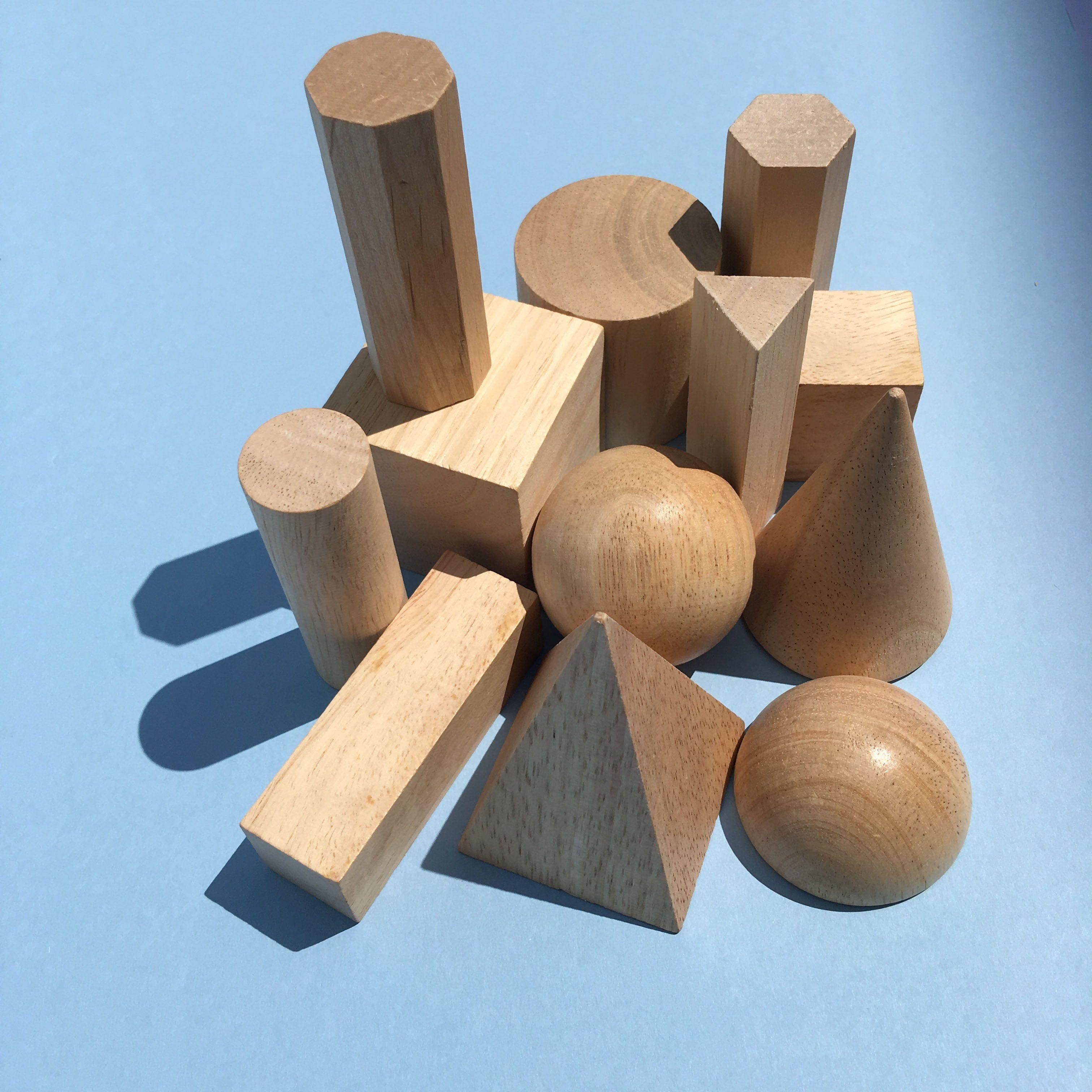 Wood Geometric Solids 12 Piece Set