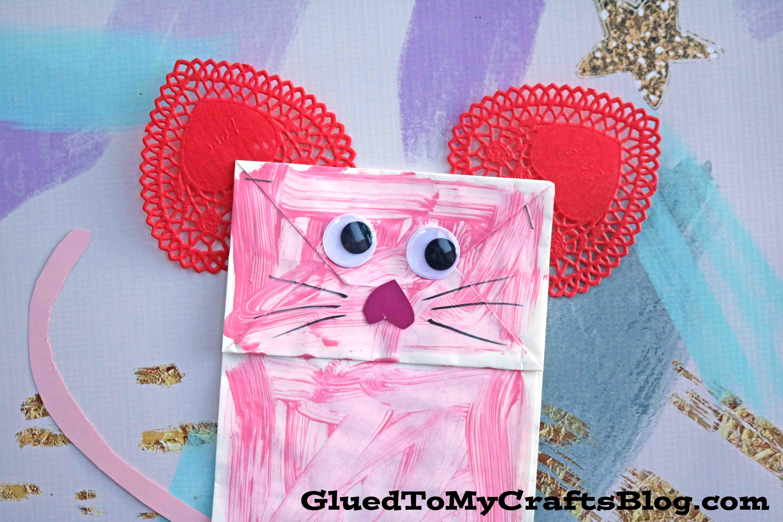Paper Bag Valentine Mouse Kid Craft