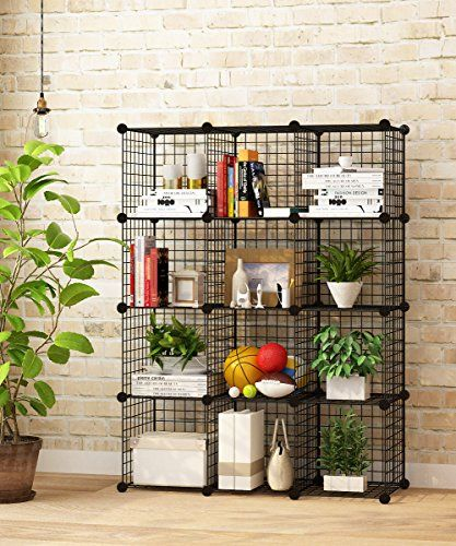 [Toy Storage Ideas] KOUSI Wire Cube Storage Metal Shelving Unit Bookcase  DIY Closet Organization System, 12 Grids Black *** Details Can Be Found By  Clicking ...
