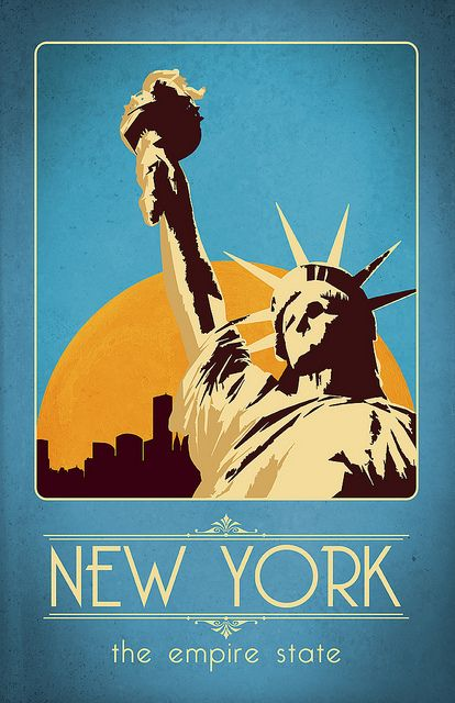 Lady Liberty New Jersey United States Vintage Travel Advertisement  Poster