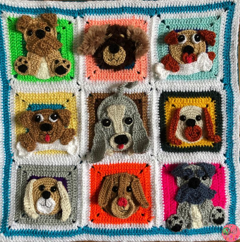 Crochet Dog Pillowcase Granny Square Cushion Cover Dog Lovers Home Decor Accessory Gift For Her Gift For Mom