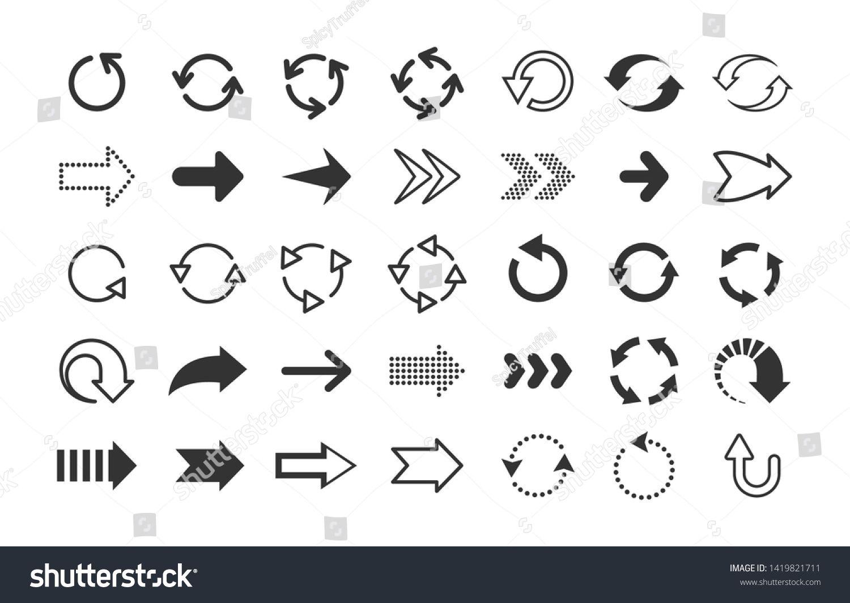 Black arrows. Circle and line direction symbols, flat