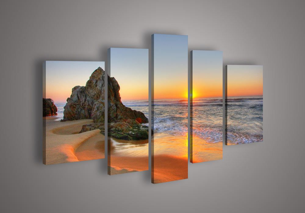 Free Shipping Handmade 5 Piece Landscape Seascape Sunset Beach Pictures Oil Painting On Canvas Wall Ar Wall Art Pictures Modern Wall Art Canvas Canvas Painting