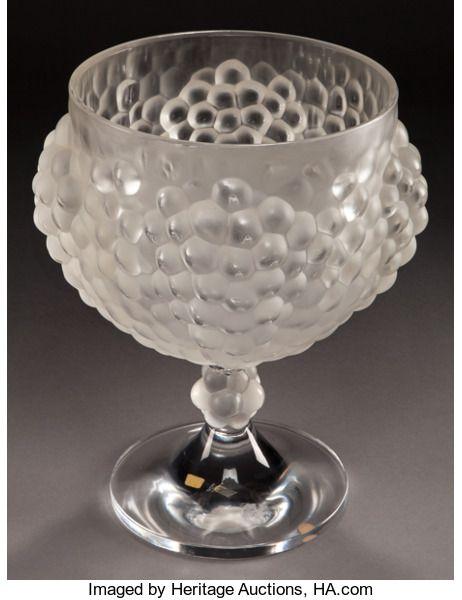 Art Glasslalique Lalique Frosted Glass Grape Vase Post 1945