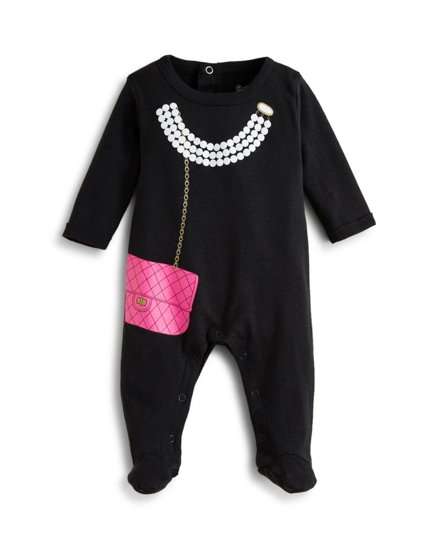Sara Kety Infant Girls' Pearls & Purse Footie - Sizes 3-9 Months