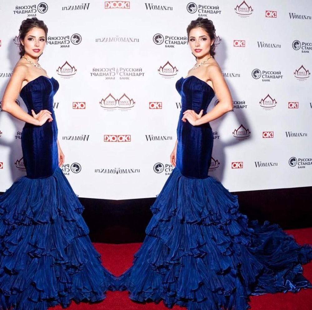 Stunning royal blue mermaid celebrity dresses sweetheart backless