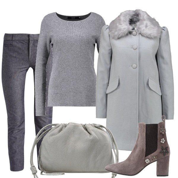 timeless design ac741 c6326 Outfit composto da pantalone classico grigio, maglioncino ...