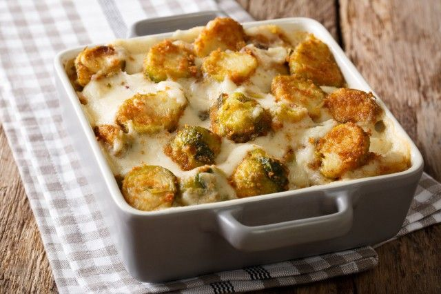 Photo of Vegetarian Brussels sprouts casserole with milk