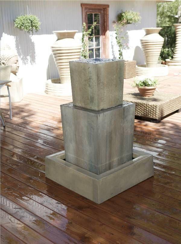 Gist Contemporary Modern Garden Fountain Cast Stone Concrete 2 Tier Square Basin Fountains Outdoor Stone Fountains Garden Water Fountains
