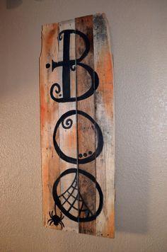 halloween halloween signs halloween dcor spooky boo reclaimed wood art