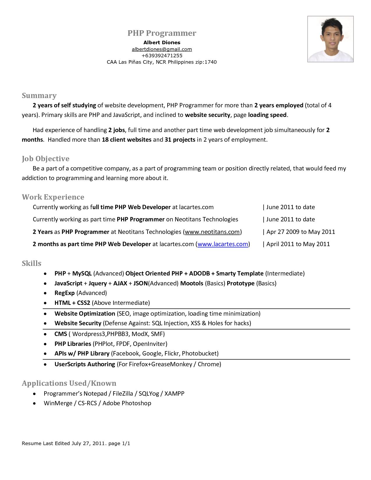 Simple Objective For Resume Php Programmer Resume  Httpwwwresumecareerphp
