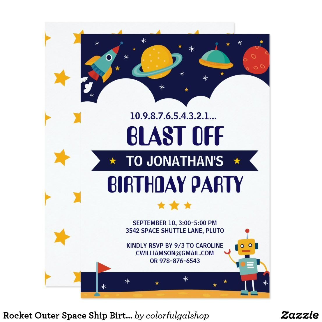 Rocket Outer Space Ship Birthday Party Invitation | Zazzle.com #outerspaceparty Rocket Outer Space Ship Birthday Party Invitation Blast off to another galaxy with this fun birthday party invitation featuring a space ship, planets, stars and more. Just add your party details to personalize. ❤  Affiliate ad link. Custom birthday party invitations / invites. #invitations #invites #birthdayparty #outerspaceparty