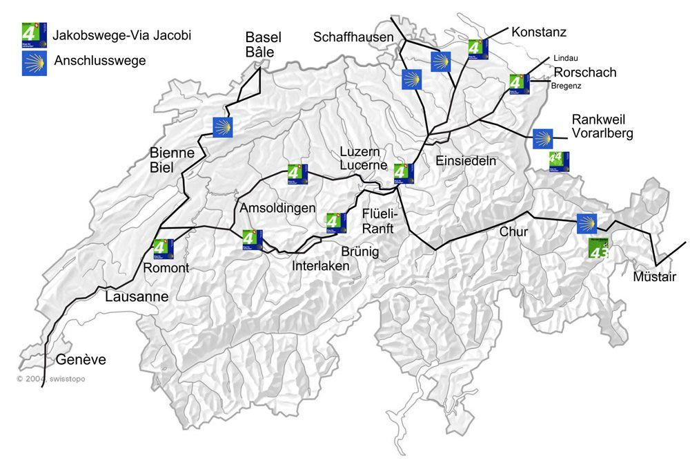 Karte Jakobsweg Schweiz Jakobsweg Einsiedeln Und Lausanne