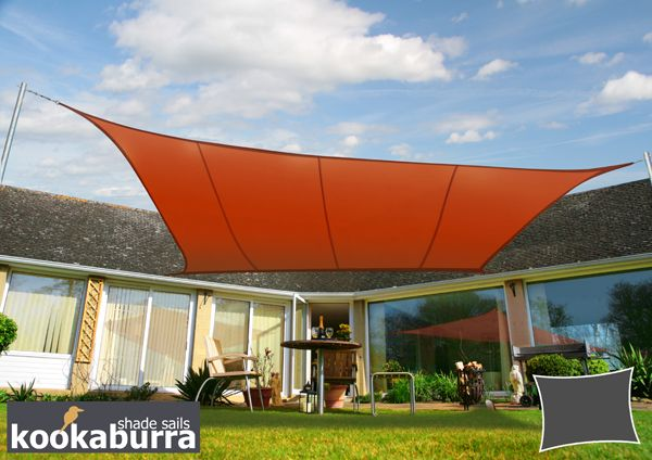 Kookaburra 5mx4m Rectangle Terracotta Waterproof Woven Shade Sail & Kookaburra® 5mx4m Rectangle Terracotta Waterproof Woven Shade Sail ...