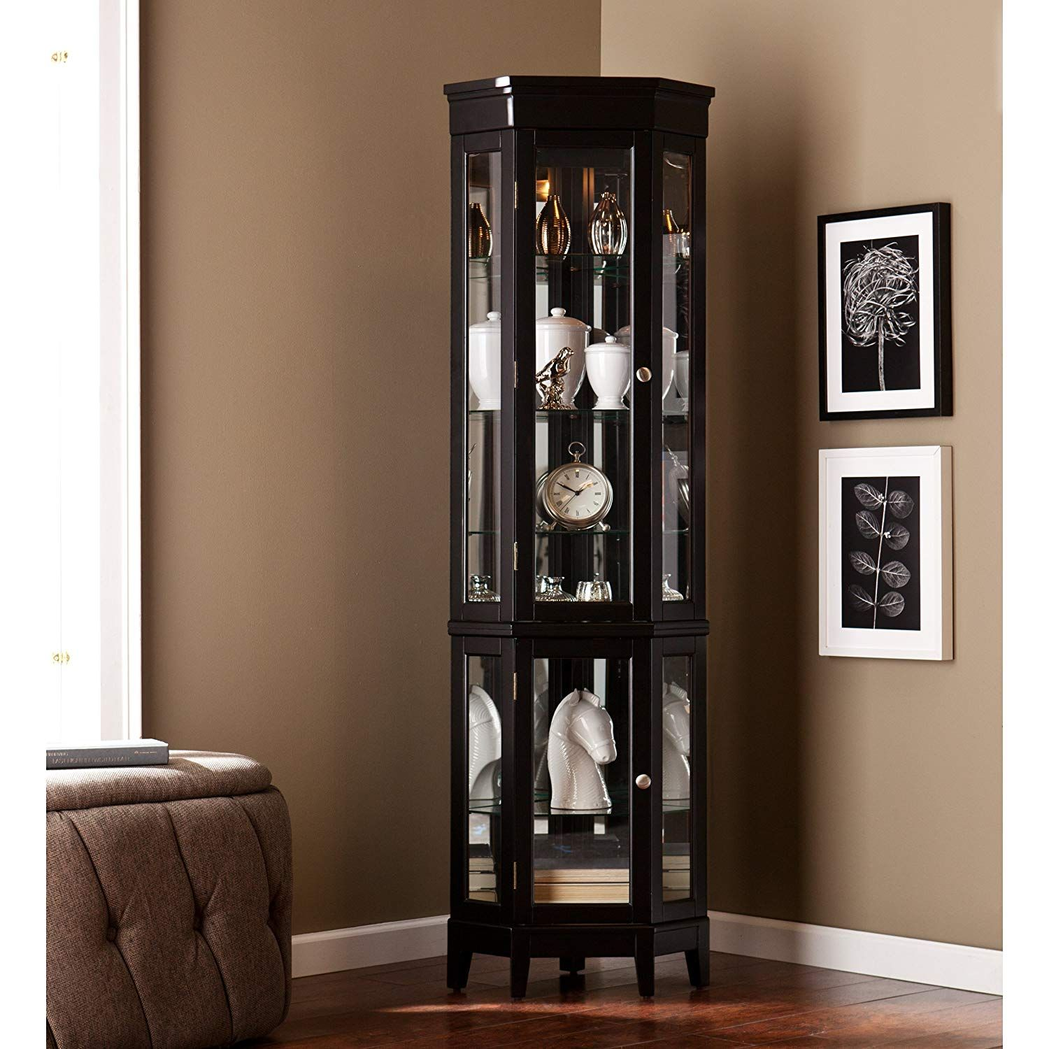 Details About Lighted Corner Display Curio Dual Cabinet ... on Corner Sconce Shelf Cabinet id=36323
