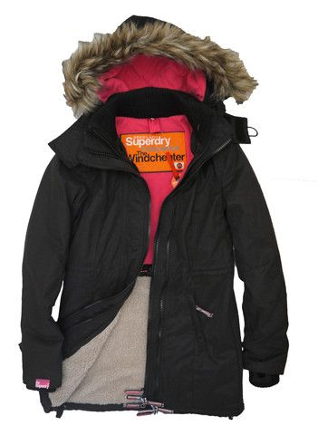Superdry Womens Hooded Super Microfibre Windcheater Coat - Black/Punk \u2013  Moyheeland Traders