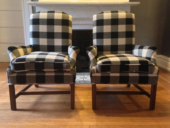 Superb Buffalo Check Arm Chairs By OSquaredDesign On Etsy