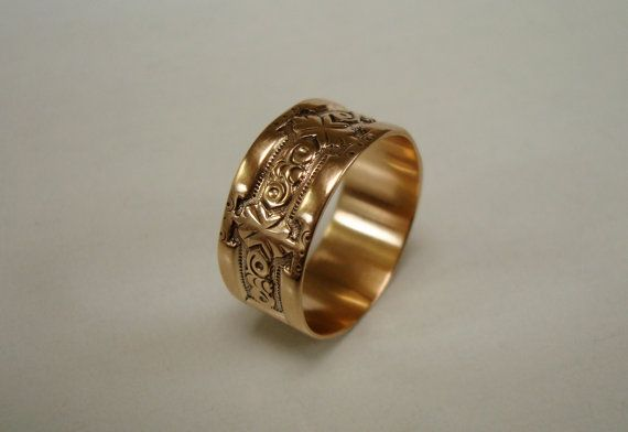 RESERVED Antique Gold Ring Victorian Cigar Band Wedding Ring