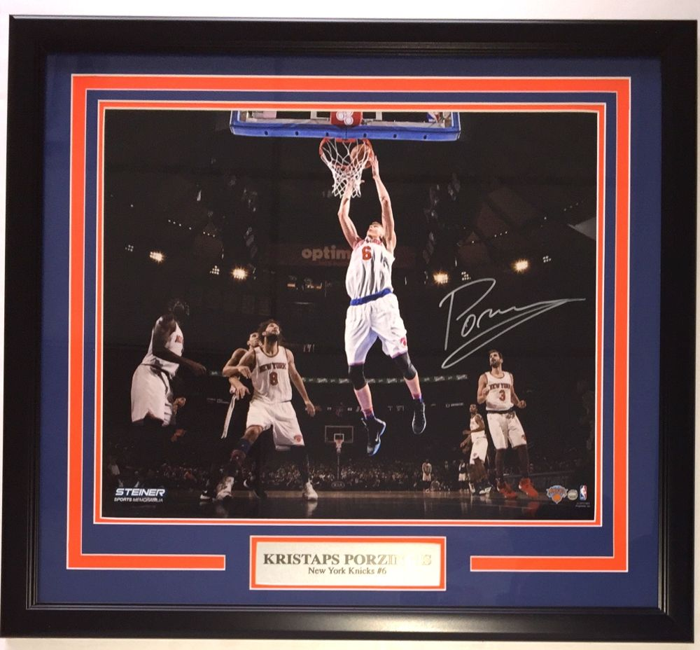 6defd1ccbc05d Kristaps Porzingis NY Knicks Signed Framed 16x20 Dunk Photo Steiner -  Sports Integrity