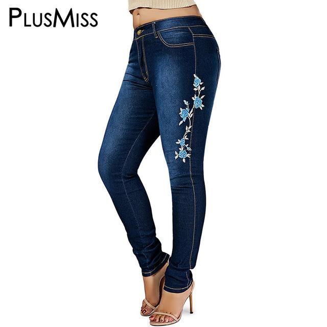 2908b1e896 PlusMiss Plus Size 6XL 5XL Skinny Floral Embroidered Ripped Jeans Female  Denim Pants Women Big Size Pencil Jean Femme Mom Black