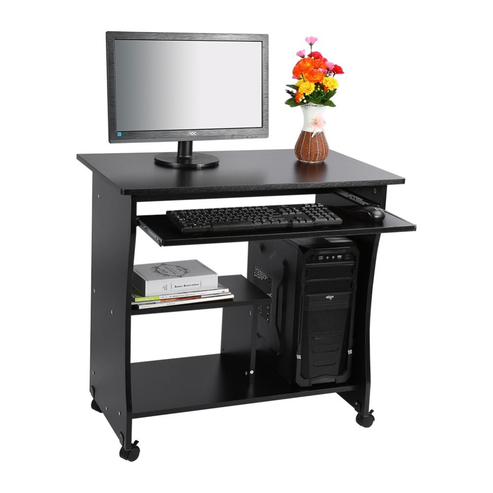 1PC Black Desktop Computer Table PC Laptop Table Office Workstation Computer  Table Corner Home Study Office
