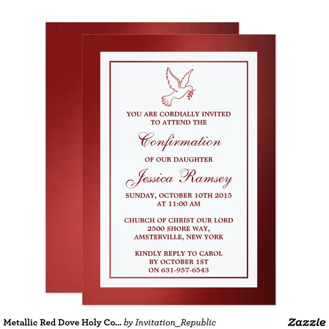 Metallic Red Dove Holy Communion Or Confirmation Card | Confirmation ...