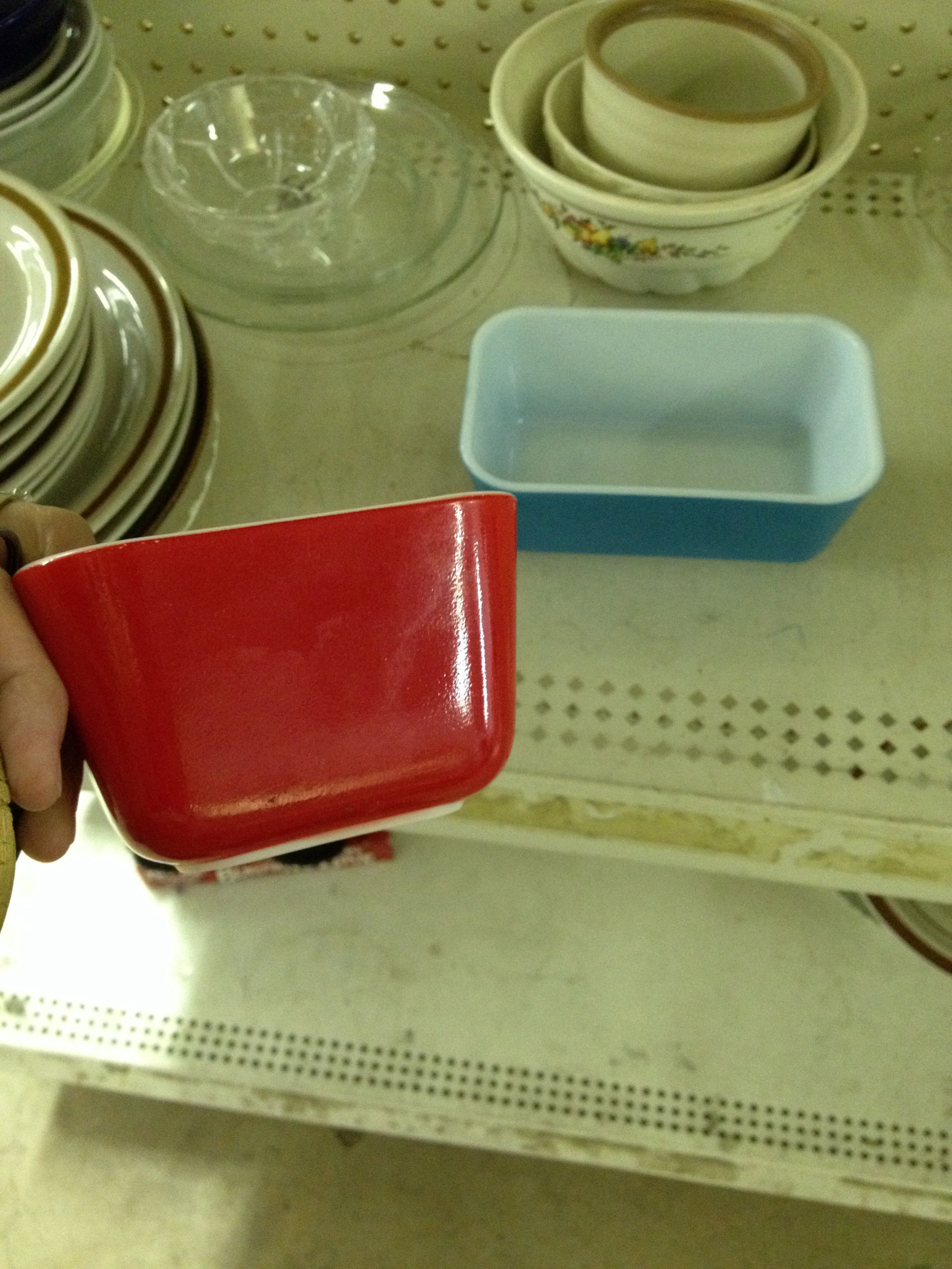 I bought the red small Pyrex fridge dish and left the blue one for someone else. I have too many of those.