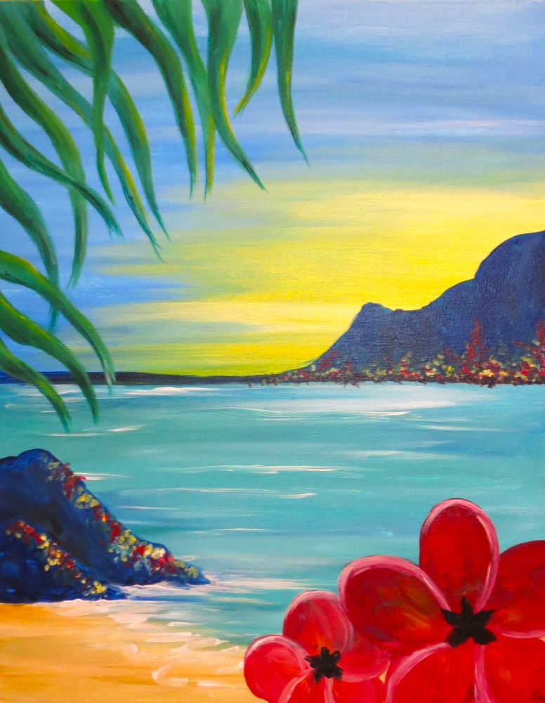 Aloha Wednesday September 12 7 00 9 00pm Relax In The Serenity Of This Ocean Sunset 5 Wine Specials Tonight Hawaii Painting Hawaiian Art Sunset Painting