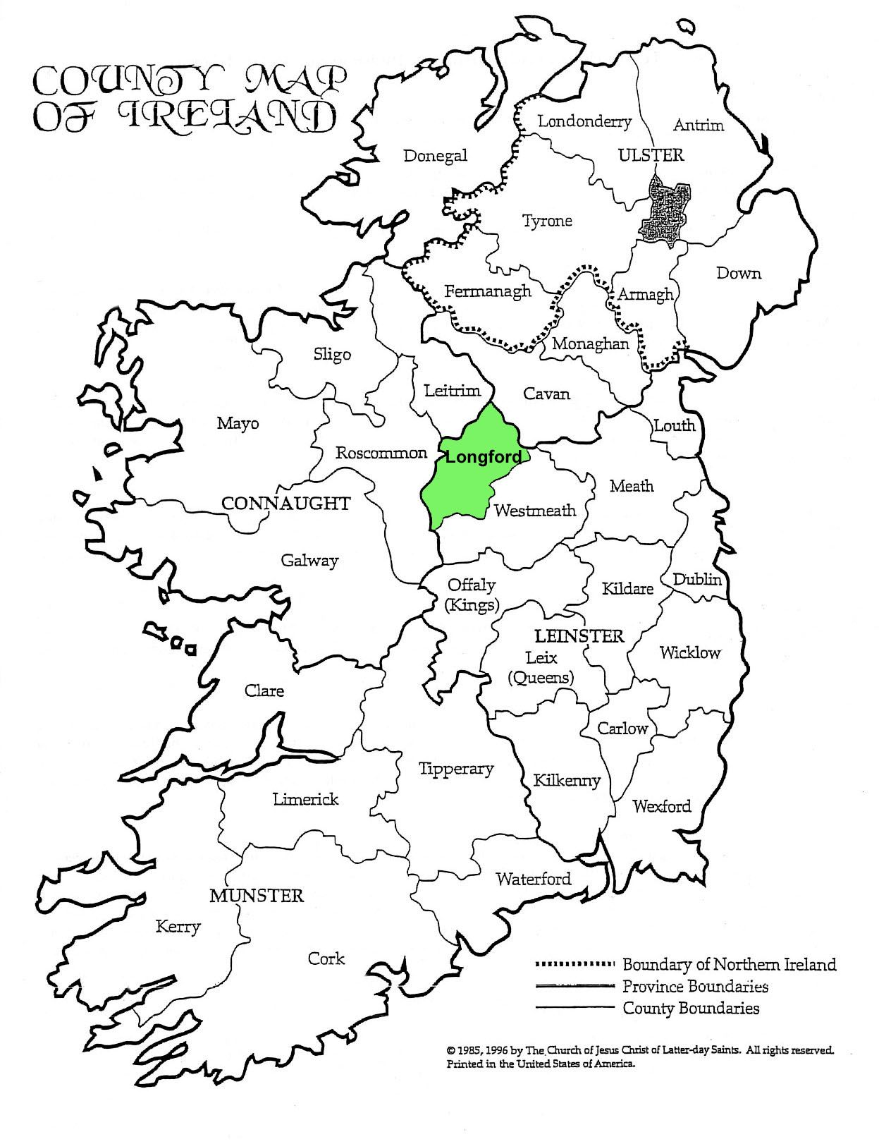 Map Of Ireland Longford.County Longford Learn Familysearch Org Ireland Ireland Map