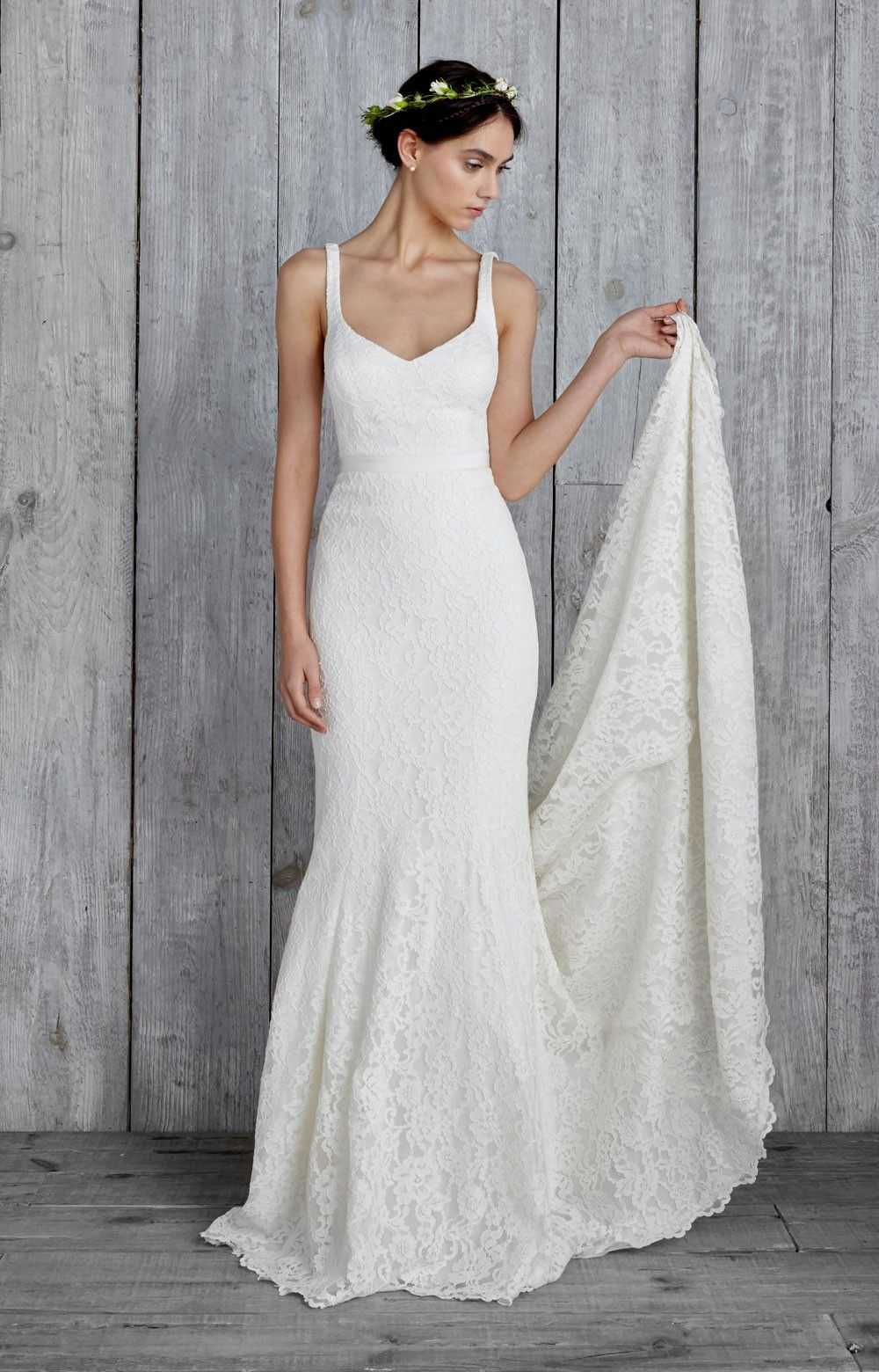 Nicole miller janey bridal gown vestidos de noiva e vestido creamy floral lace covers this figure hugging bridal gown a tonal waistband defines the junglespirit Choice Image