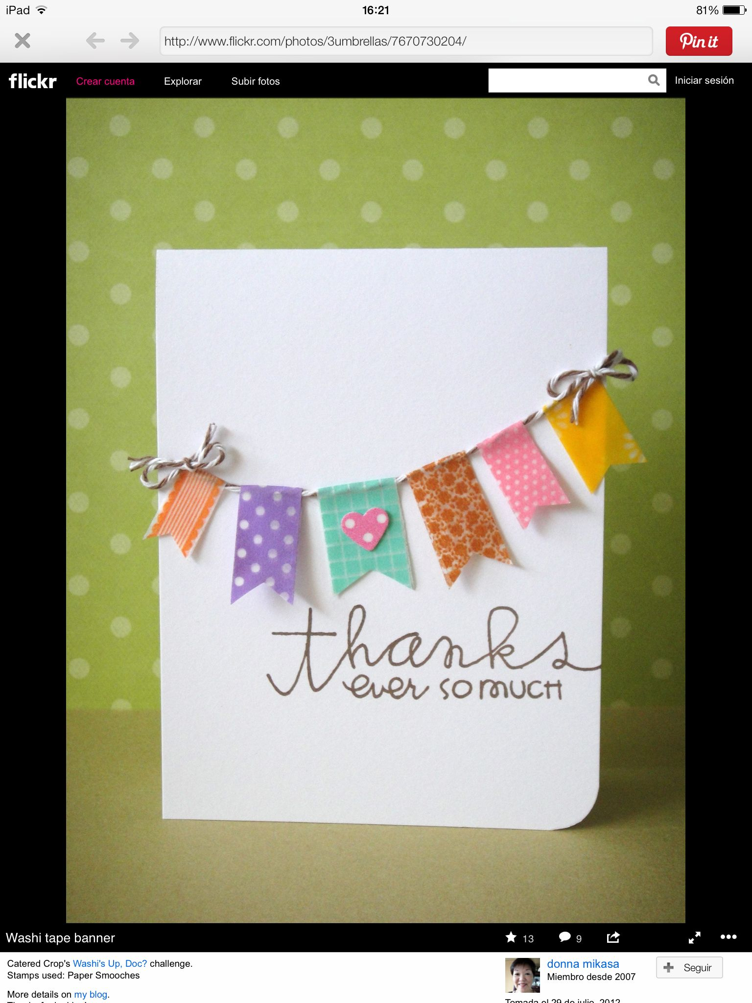 Washi Buntings For Various Forms Of Greeting Cards Handmade Cards